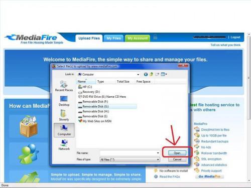 Wie man Dateien auf MediaFire