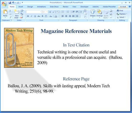 apa-format in powerpoint veranschaulicht