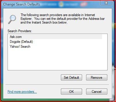 Ändern oder Auswählen eines Suchanbieters in InternetExplorer