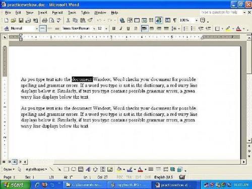 Auswählen von Text in einem Microsoft Word-Dokument