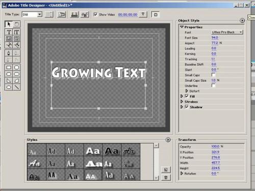 Wie erstellen wachsenden Text in Adobe Premiere Pro