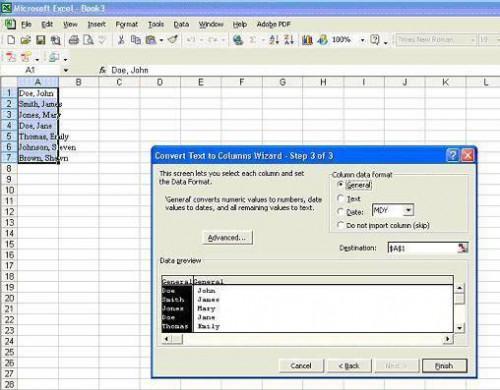 Wie Konvertieren von Namen zu einer Kalkulationstabelle